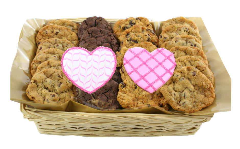 Double Heart Cookie Gift Basket