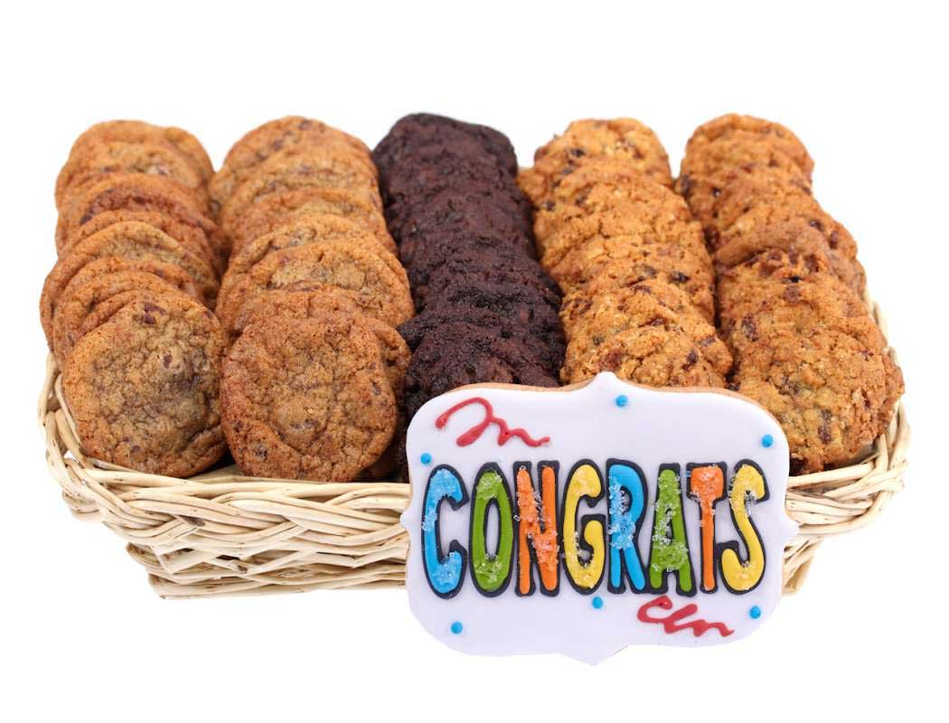 Congrats gift basket of mini cookies