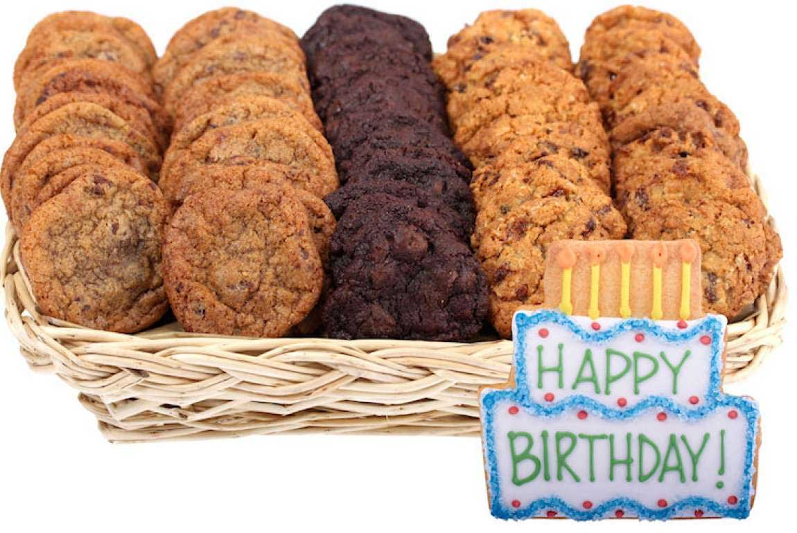 Happy birthday gift basket of mini cookies